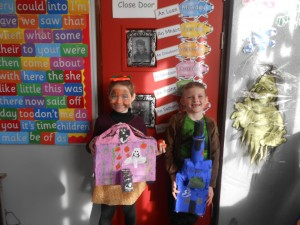 Kayleigh and Kieran show off their brilliant work..