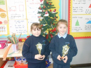 Ciara and Mary proudly show off their Irish Dancing trophies!