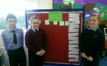 Mark, Molly and Lila counting the votes for the Junior Entrepreneur Programme.