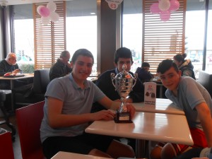 The team and the trophy enjoy a celebratory trip to McDonalds!!
