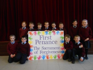 Second Class proudly displaying their Artwork for  the First Penance.