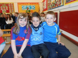 Ciara, Kieran and Caoimhín enjoying Jersey Day!