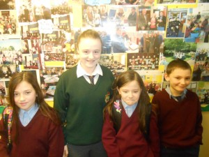 Past pupil Sarah Carthy, with present pupils; her sisters and cousin.