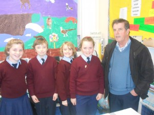 We welcomed Murty Gorman back to the school after his retirement last year as he poses with 5th class students Molly, Liam, Sarah and Lila Ann.