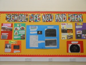 First Class created this amazing display on the comparisons between School Life now and in the past.