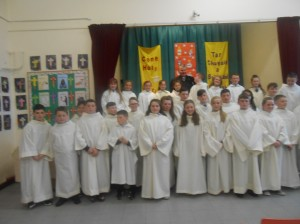 5th and 6th class with Fr. Hannon at our school mass.