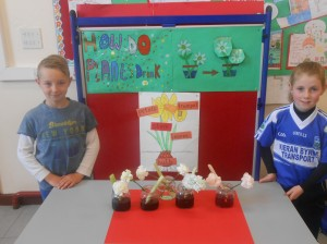 Oisín and Aoife demonstrating how plants drink!
