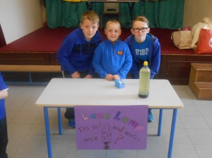 Cody, Darragh and Cian investigate whether oil and water can mix?