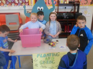 Lauren, Leah and Luke investigating floating and sinking..