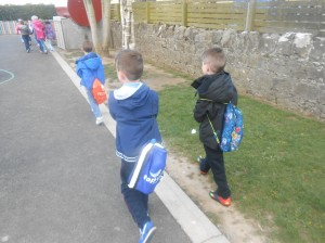 Carrying water sacks on the walk....