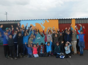 5th and 6th class and members of the water committee on the 'Walk for Water'.