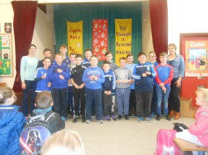 Kilberry N.S. Basketball team, led by team captain Dean Owens.