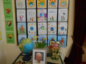 All of the beautiful artwork the children created over the week was on display for our prayer service.
